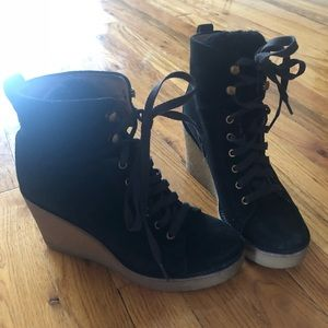 Ugg black suede w lamb fur lace up wedges